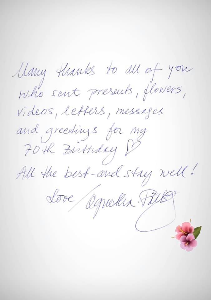 Thank you from Agnetha