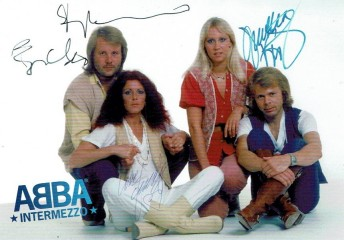 ABBA postcard with printed autographs