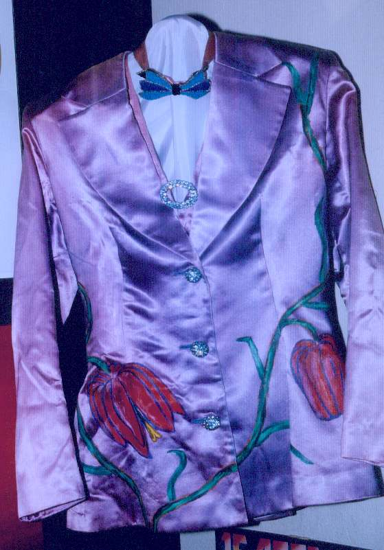 Frida's satin jacket designed by Owe Sandström