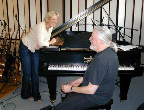 Frida and Jon Lord during the recording session