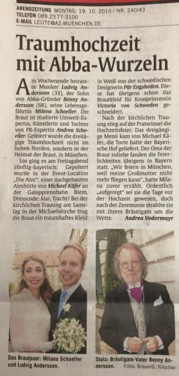 German newspaper article about Ludvig's wedding
